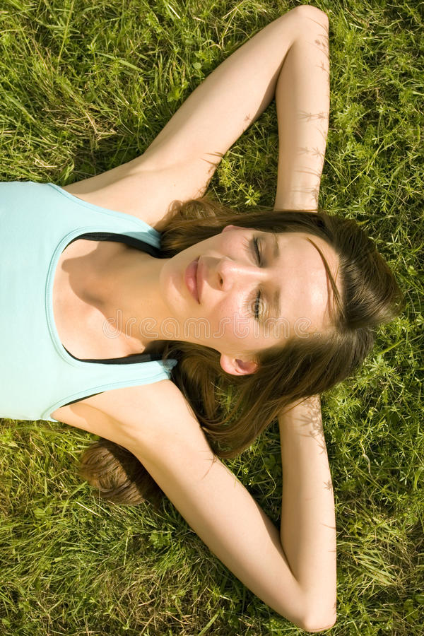 Relaxing on grass royalty free stock images