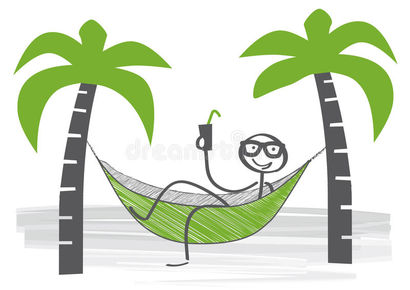 Relaxing in a hammock vector illustration
