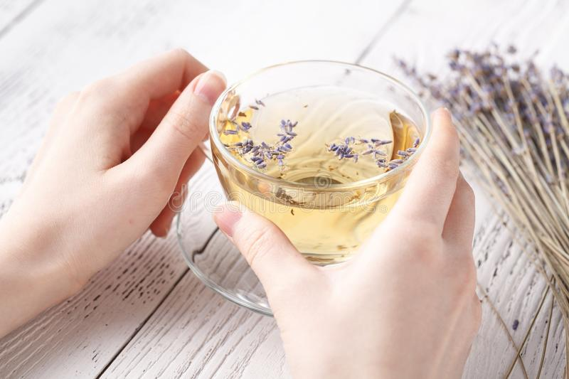 Relaxing herbal tea with lavender in hands stock photos