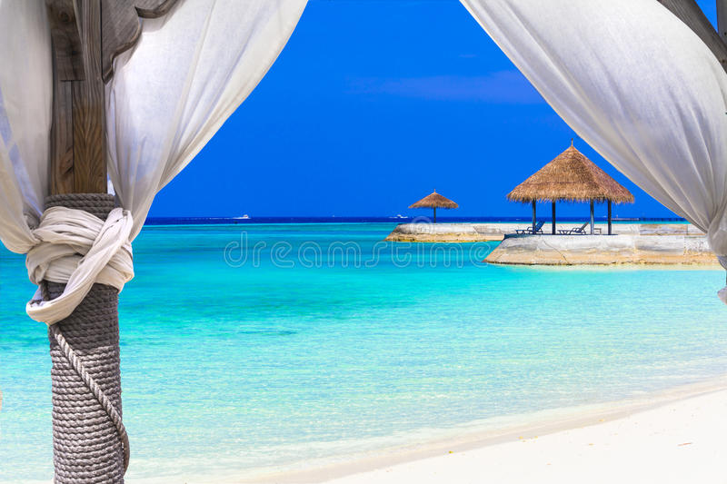 Relaxing holidays in tropical paradise royalty free stock photo