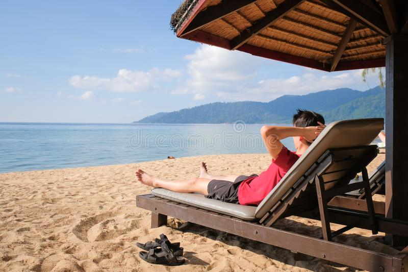 Relaxing image of tourist at holiday stock images