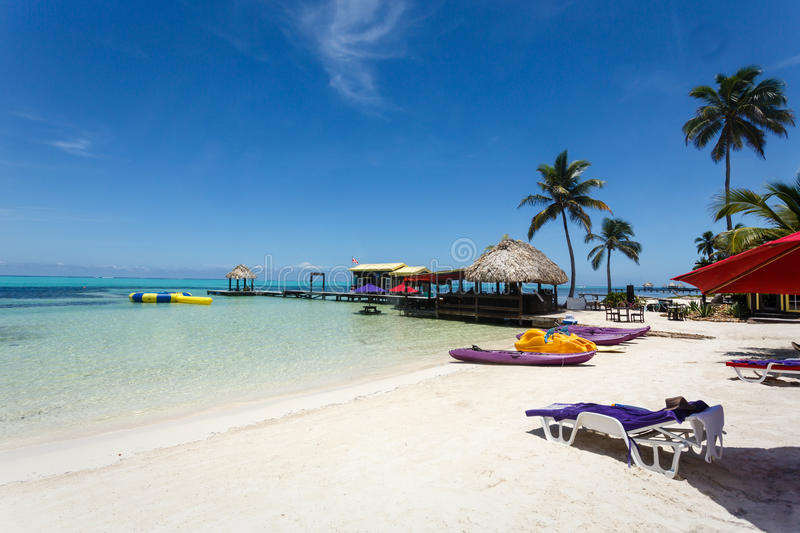 Relaxing landscape of a beach resort with white sand stock photo