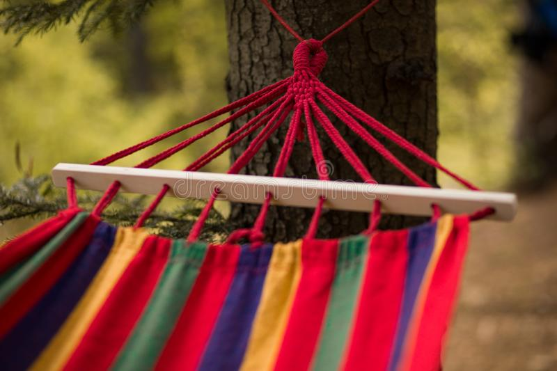 Relaxing lazy time with hammock in forest. Beautiful landscape with swinging hammock in summer garden, sunny day. Travel, adventure, camping gear royalty free stock images