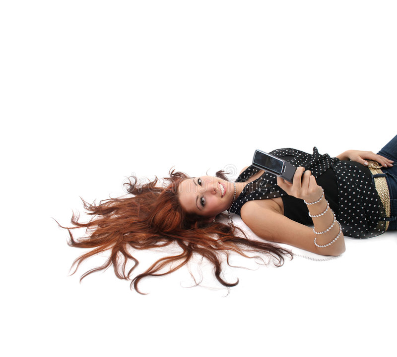 Download Relaxing With Mobile Stock Photo - Image: 8107130