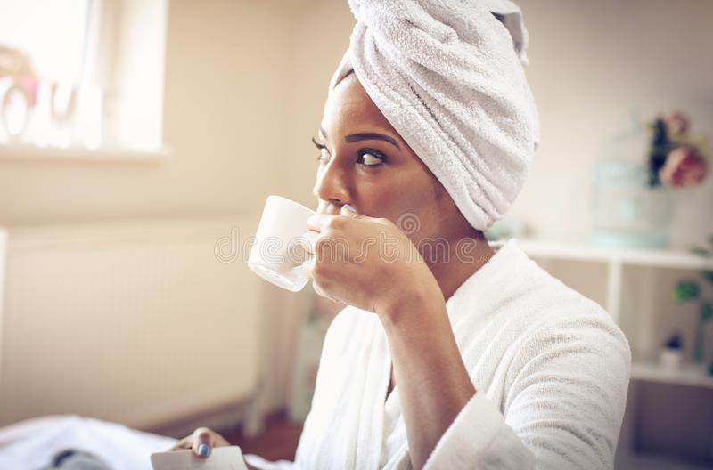 Relaxing morning with cup of coffee. stock image
