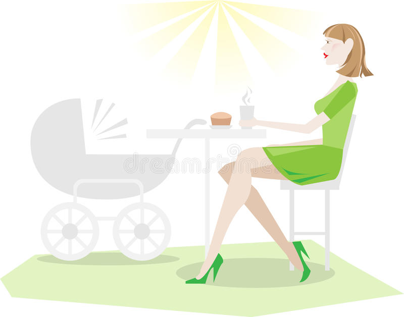 Relaxing mother in coffee with baby stroller