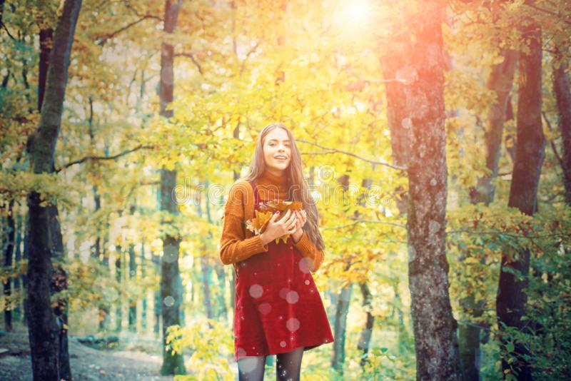 Relaxing in nature. Natural beauty. Autumnal melancholy. Pretty woman stand nature forest background. Fall fashion. Enjoy fall season royalty free stock photo