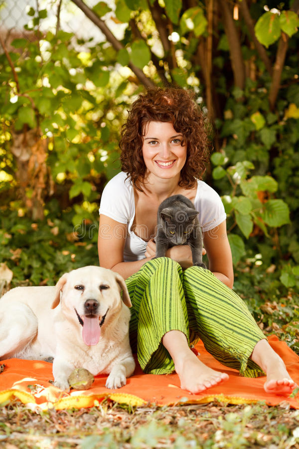 Relaxing in nature with pets royalty free stock image