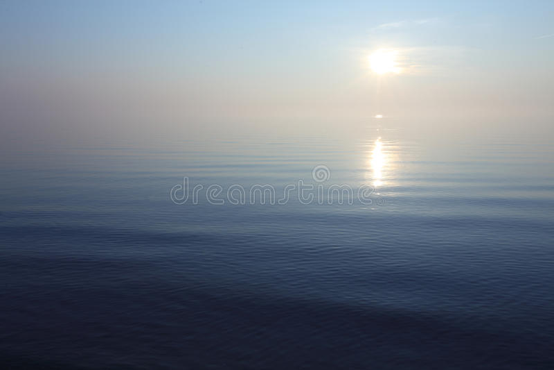 Relaxing ocean view  sunrise in blue tone