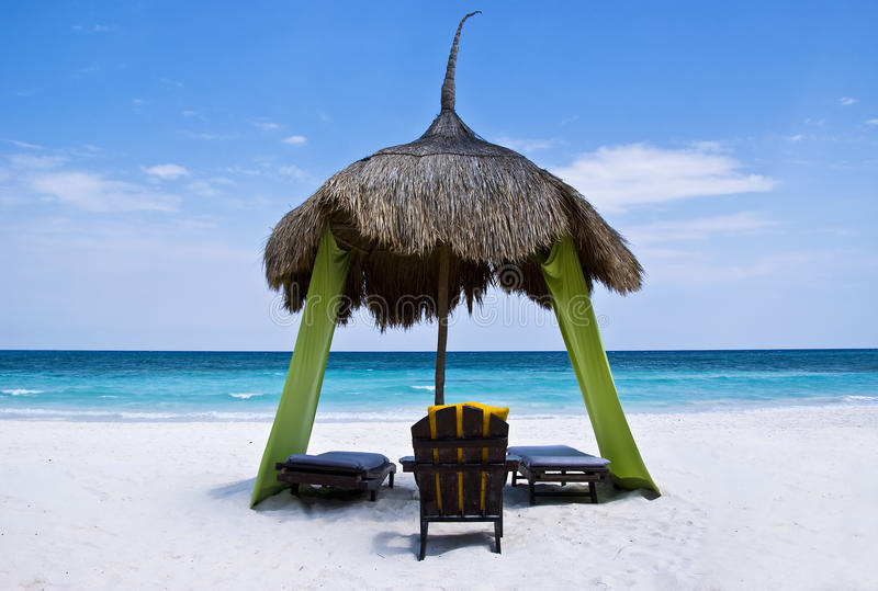 Download Relaxing Palapa, On A Tropical Beach Stock Image - Image of dream, rest: 10954853