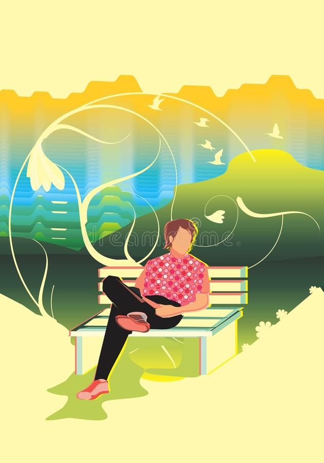 Download Relaxing  in the park stock illustration. Illustration of chill - 15119976