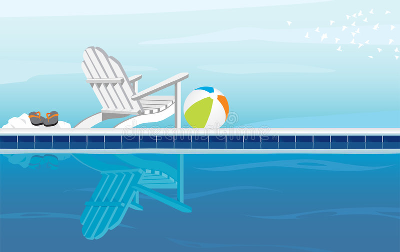 Relaxing by Pool. Relaxing depiction of swimming pool and Adirondack Chair; With Flip Flops, beach ball and a flock of birds