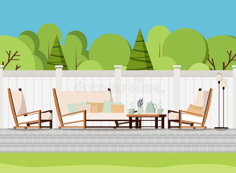 Relaxing porch zone: private backyard patio retreat with outdoor country soft sofa, table with cups of tea and flowers, armchairs stock illustration