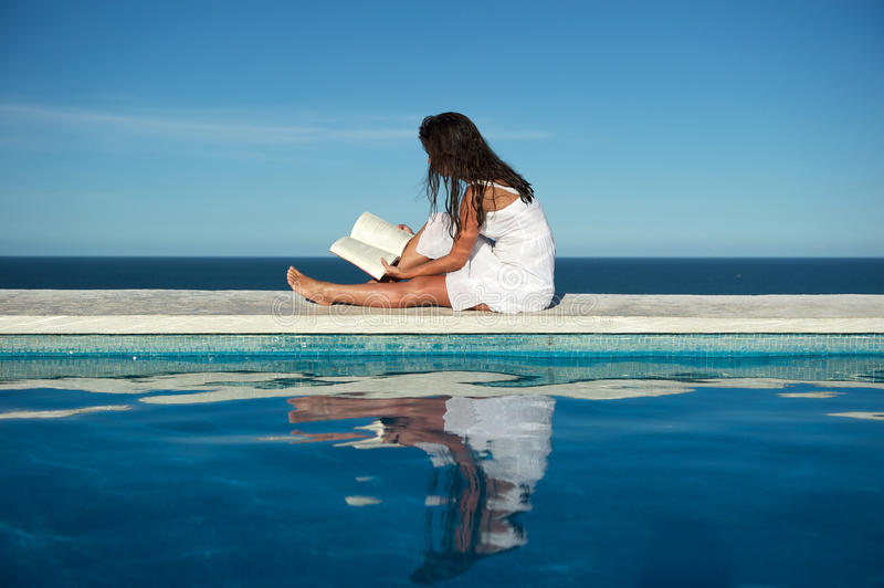 Relaxing reading stock image
