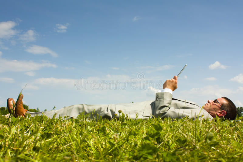 Relaxing reading stock photography