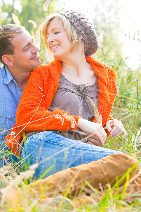 Download Relaxing Romantic Couple In Nature Stock Image - Image of autumn, girl: 11091867