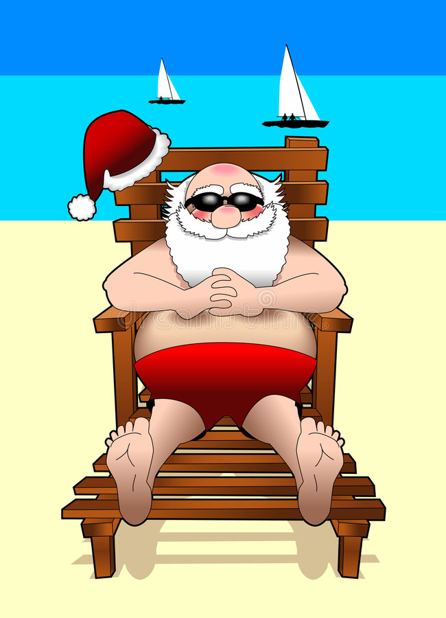 Relaxing_santa_beach vector illustration