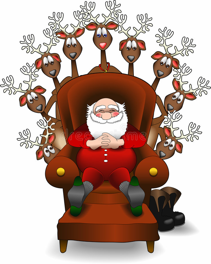 Relaxing_santa_reindeer.jpg ilustración del vector
