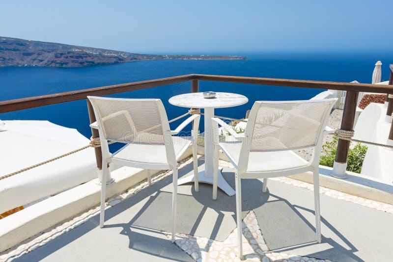 Relaxing in Santorini, Greece royalty free stock photo
