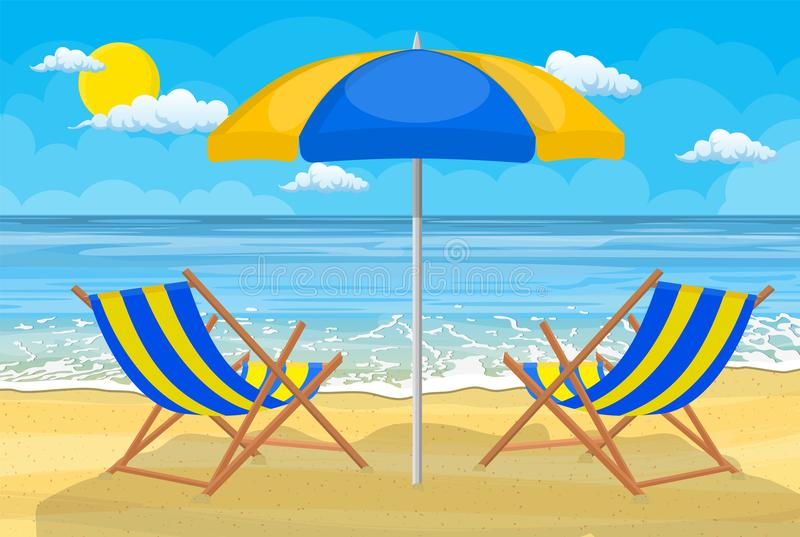 Relaxing scene on a breezy day stock illustration