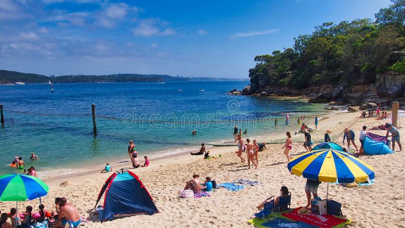 Relaxing on Shark Beach, Vaucluse, Sydney, Australia stock photography