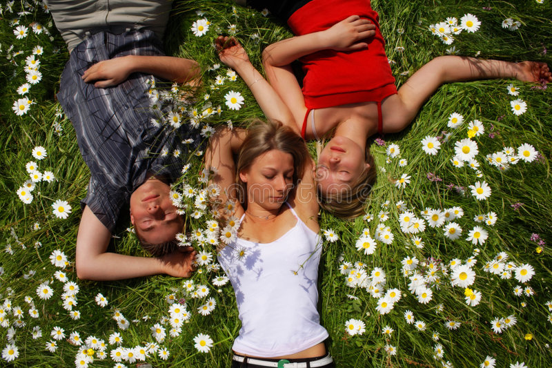 Download Relaxing Siblings stock photo. Image of flowers, freedom - 1109200