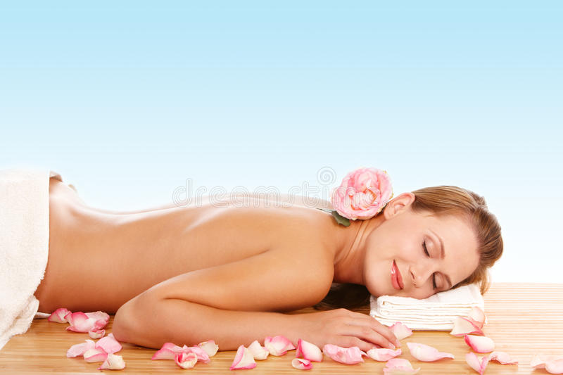 Relaxing at spa stock photos