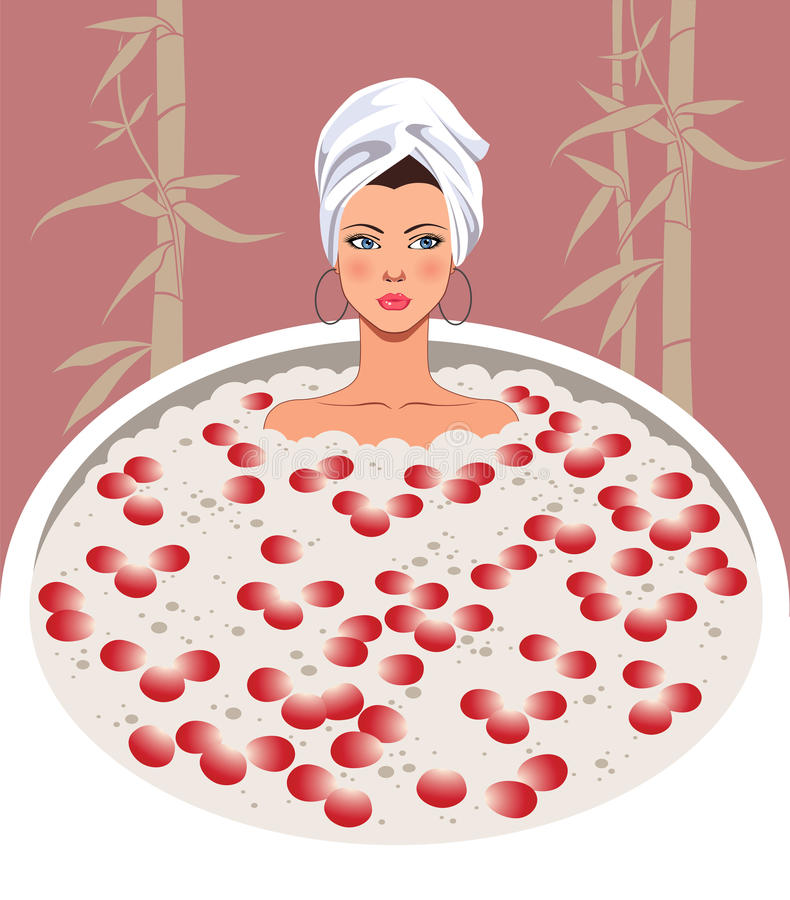 Relaxing spa. The woman relaxes in a bathroom with petals of roses vector illustration