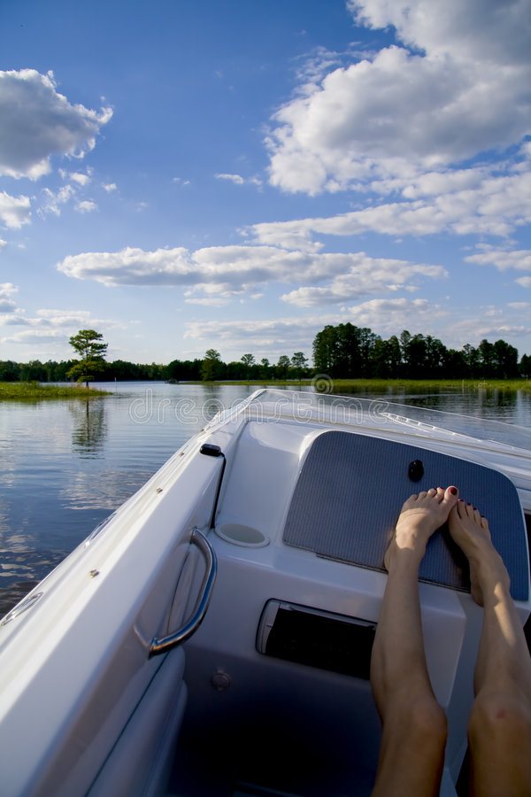 Relaxing on a speed boat royalty free stock images