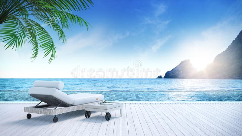 Relaxing summer,daybeds on Sunbathing deck and private swimming pool with near beach and panoramic sea view at luxury house /3d re stock illustration