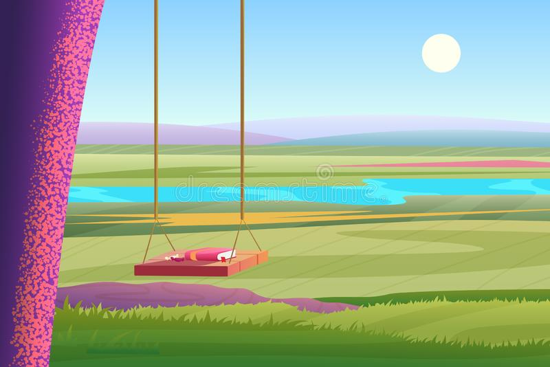 Relaxing summer sunny day bright view of stylized cartoon landscape. Book on the wooden tree swing with a view to the stock illustration
