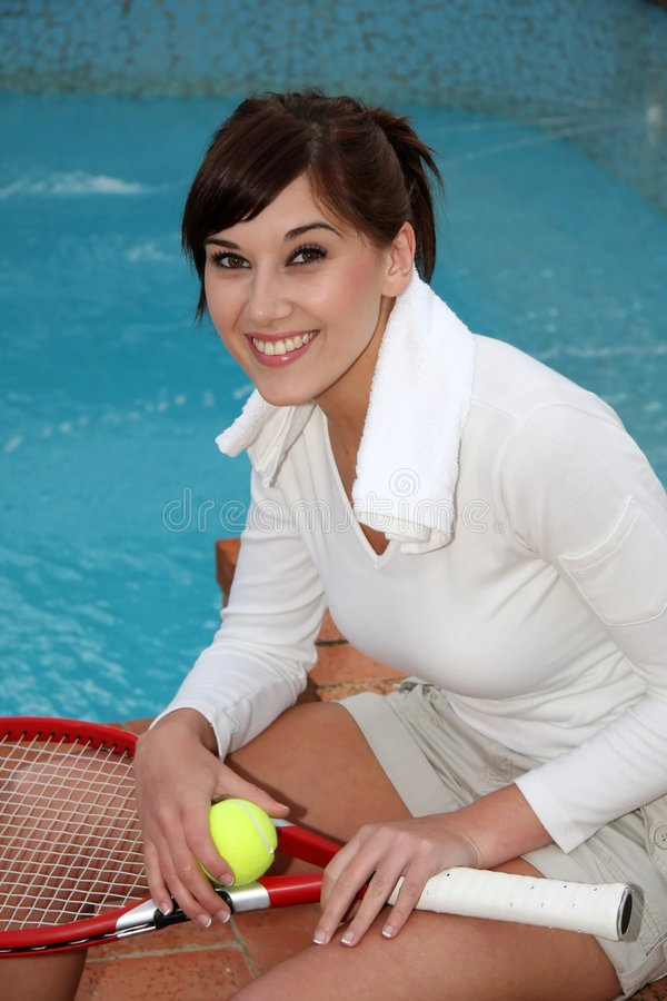Download Relaxing Tennis Player stock image. Image of girl, adult - 7144587