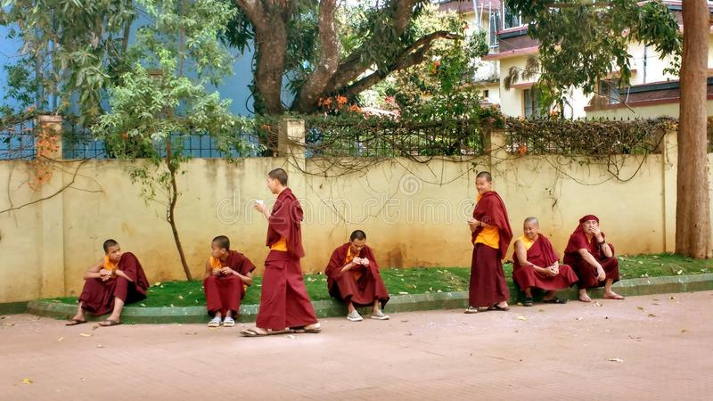 Relaxing Tibetan monks in Indian monastery royalty free stock image