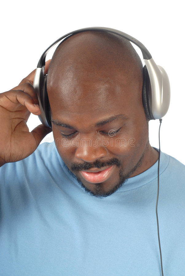 Relaxing to music stock image