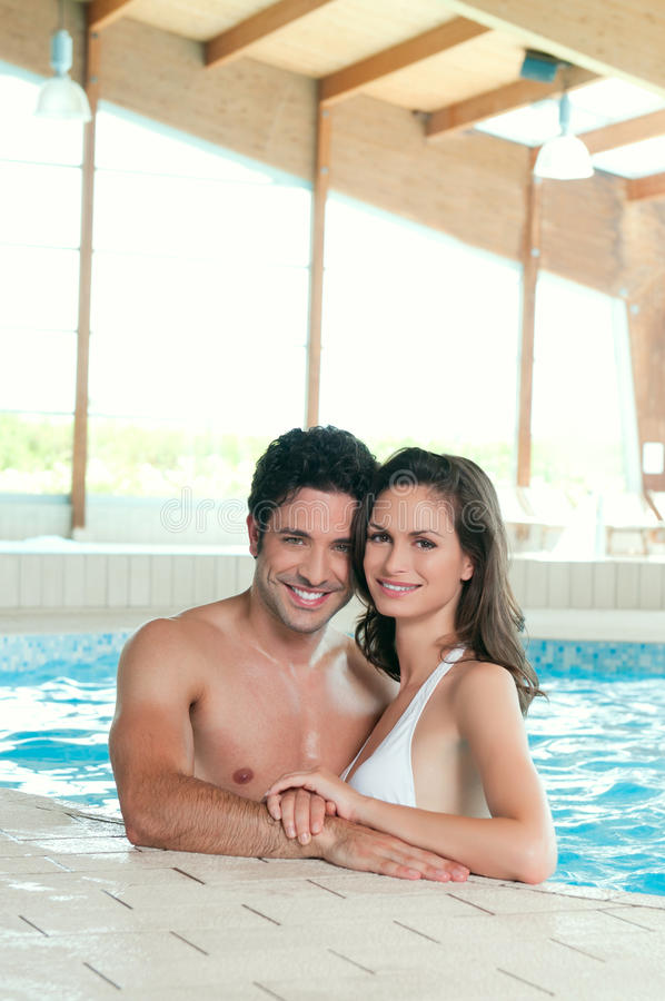 Relaxing together in a swimmingpool royalty free stock photos