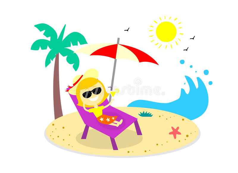 relaxing vacation on the beach stock vector illustration of flat rh dreamstime com sunbathing clipart free Bath Clip Art