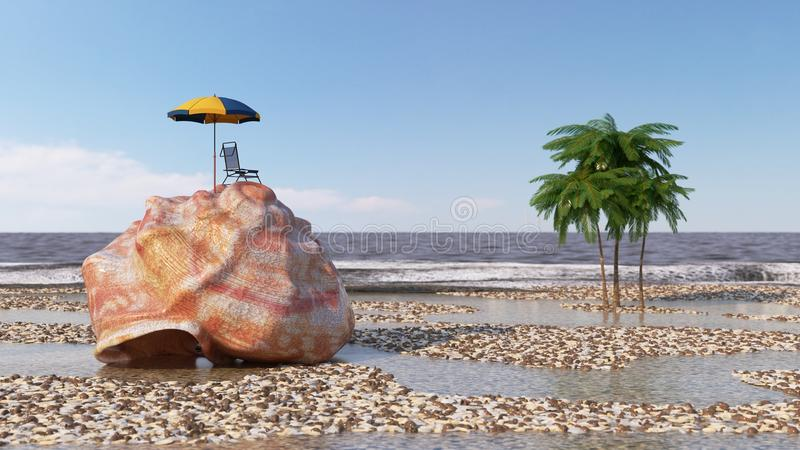 relaxing vacation concept background with seashell,umbrella and beach accessories royalty free illustration