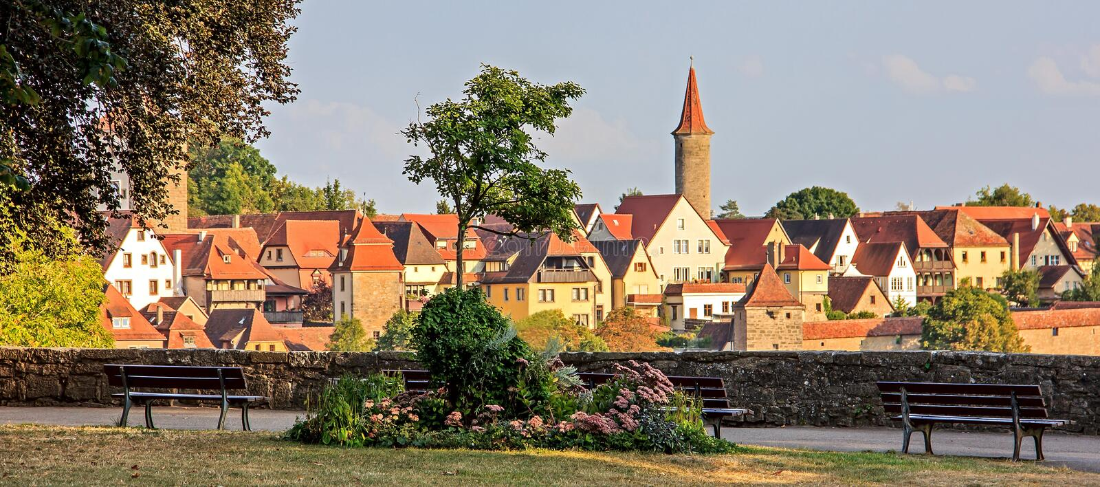 Relaxing view of Castle Garden, Burggarten; and view of old town, Rothenburg ob der Tauber, Germany stock photos