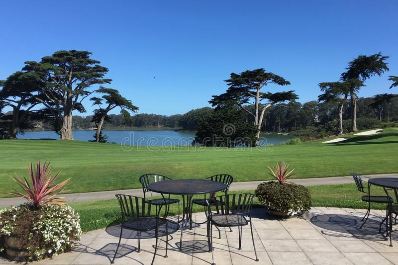 Relaxing view from Harding Park Municipal Golf Course in San Francisco. California royalty free stock images