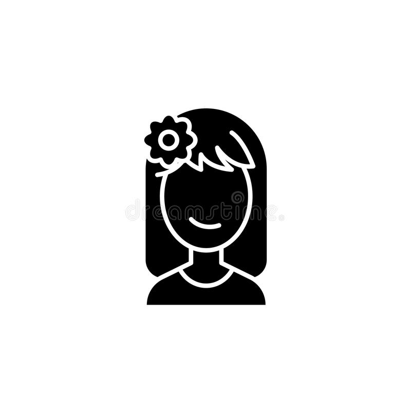 Relaxing woman face black icon concept. Relaxing woman face flat vector symbol, sign, illustration. royalty free illustration