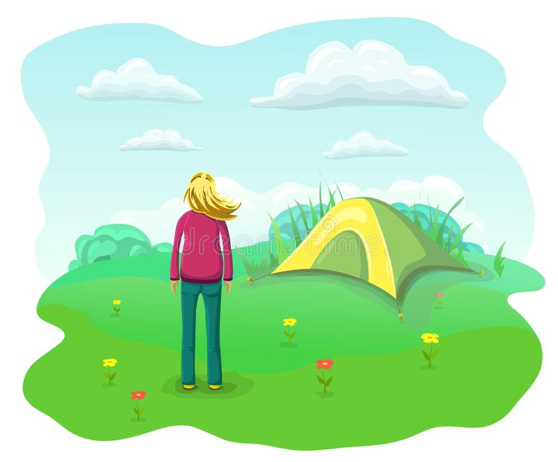 Relaxing woman in nature. Summer camping flat landscape. Relaxed and happy girl with flying hair near tourist tent royalty free illustration