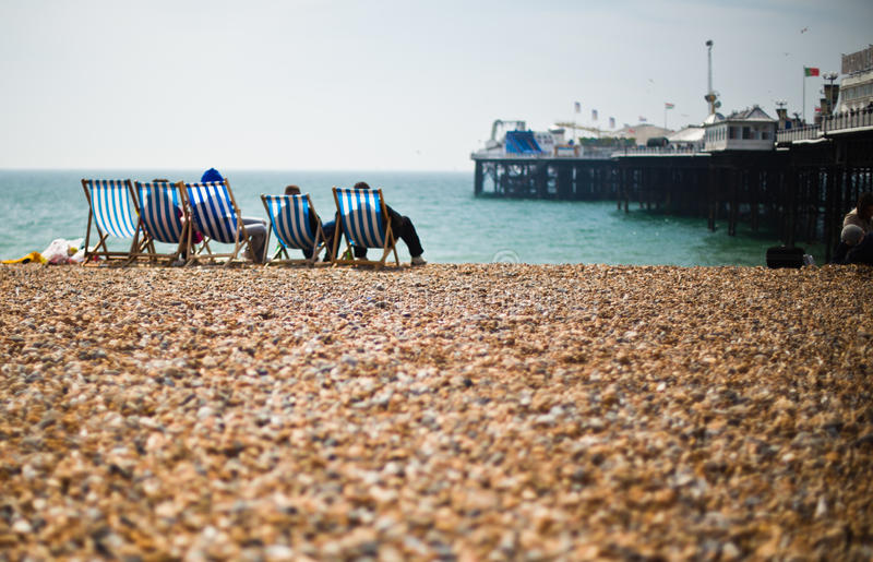 Relax on the beach, Brighton, summer 2015 stock photography