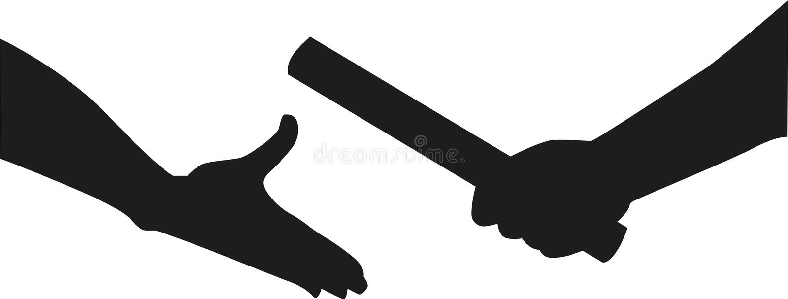 Relay hands passing the baton stock illustration