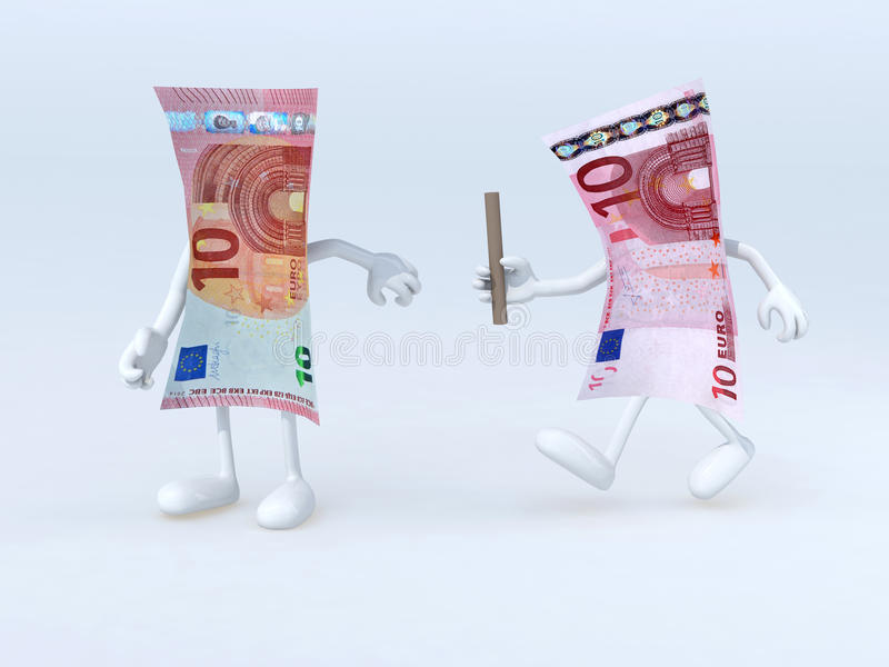 Relay between old and new 10 euro notes. 3d illustration stock illustration