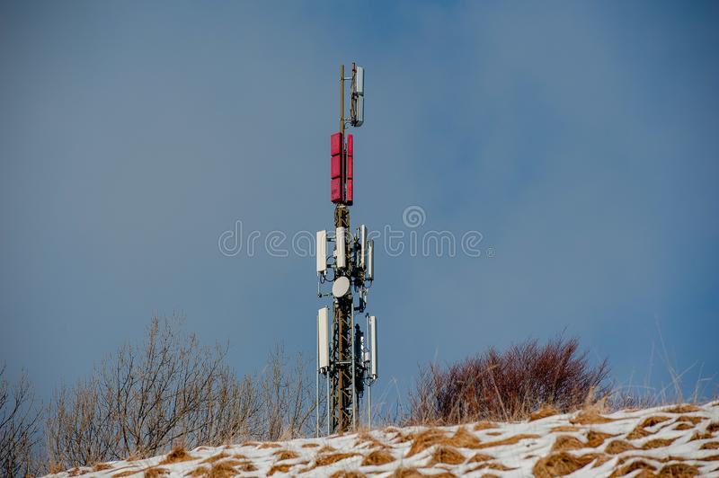 Relay. Pole for support of telephone repeaters royalty free stock image