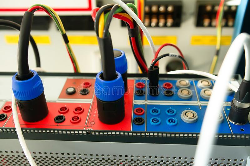 Relay protection testing device. Engineering by electrical tool. Maintenance relay protections with test equipment stock photography