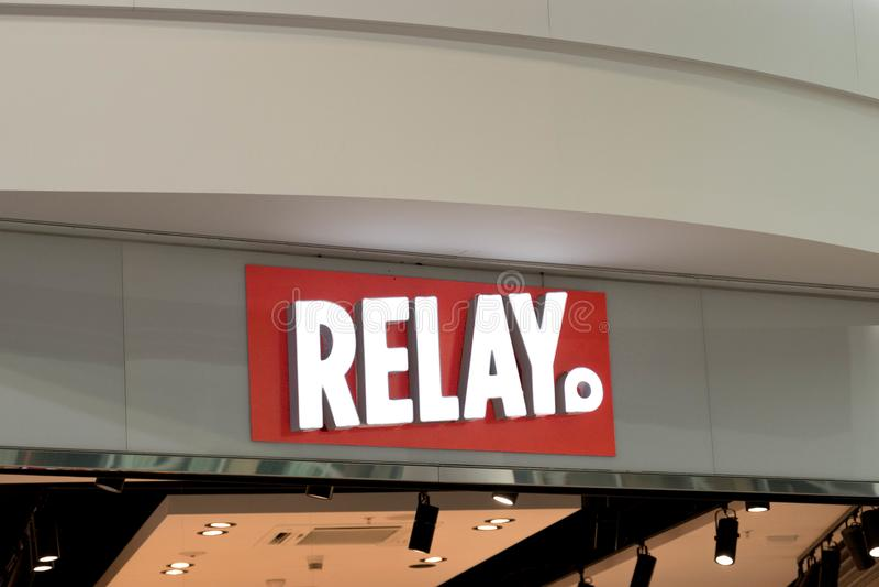 Brussel/Belgium-09.08.18 : relay shop kiosk news agent press office logo royalty free stock images