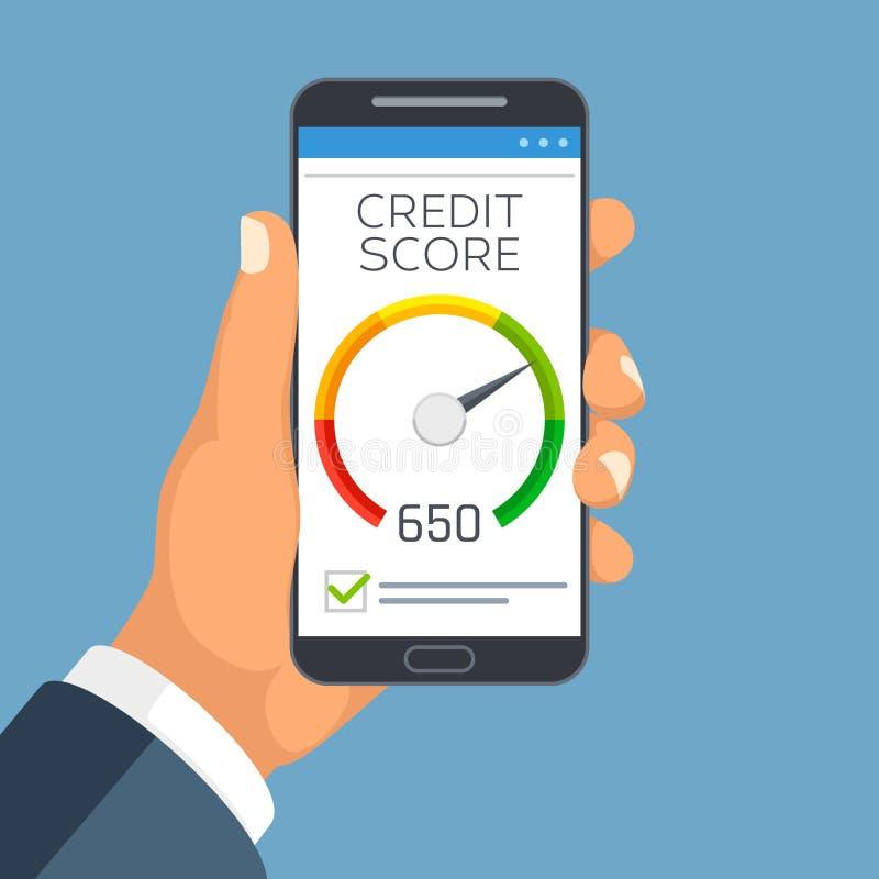Relazione di attività del punteggio di credito sullo schermo dello smartphone Concetto di vettore di app del tester di stima del  royalty illustrazione gratis