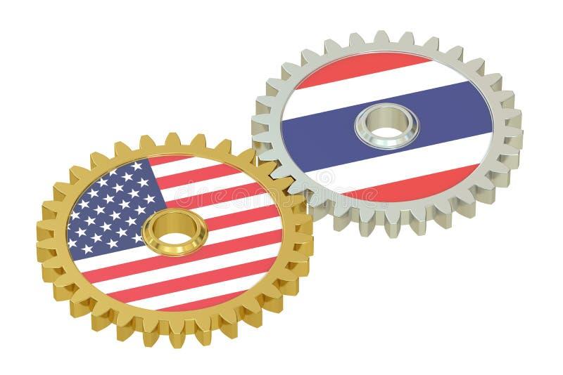 Relazioni concetto, bandiere degli Stati Uniti e di Taiwan sull'ingranaggi 3d royalty illustrazione gratis