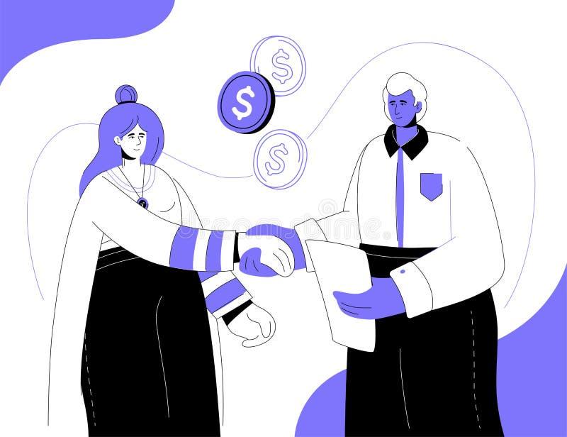 Relazioni finanziarie - illustrazione piana variopinta di stile di progettazione royalty illustrazione gratis